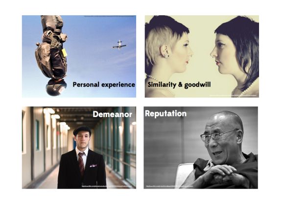 Internal credibility includes personal experience (want to know about skydiving? ask a skydiver.), shared values with your audience, reputation, and demeanor or behavior during a presentation.